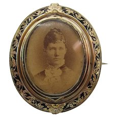 Antique Victorian Enameled 14K Gold Swiveling Photo Brooch With Original Photos