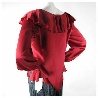 1970's Vintage Yves Saint Laurent Red Silk Charmeuse Blouse
