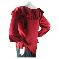 1970's Vintage Yves Saint Laurent Red Silk Charmeuse Blouse