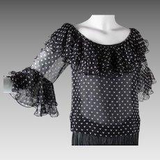 1970's Vintage Yves Saint Laurent Rive Gauche Heart Print Black & White Blouse