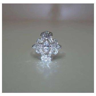 Sumptuous 1930's Art Deco Platinum Mixed Cut Diamond Ring 1.6 Carats Size 10