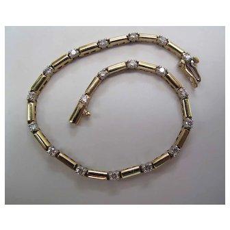 Vintage 14K Yellow Gold 1.5 Carat Diamond Line Bracelet 7 1/2-Inches