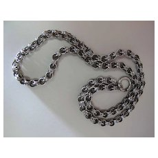 Victorian Sterling Silver Double Rolo Link Chain With 1/2 Inch Spring Ring