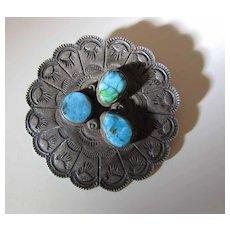 Circa 1940 Navajo Stamped Ingot Silver & Turquoise Signed Pin