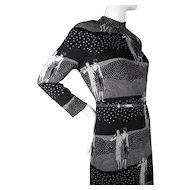 1960's Vintage Adele Simpson Flapper Print Black & White Silk Jersey Dress