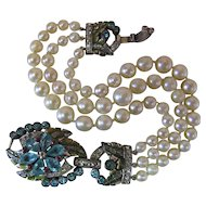 Opulent 1930's Enameled Aquamarine Blue Rhinestone & Simulated Pearl Bracelet