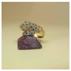 Vintage 14K Yellow Gold Diamond & Sapphire Panther Ring By Hirsch & Oppenheimer