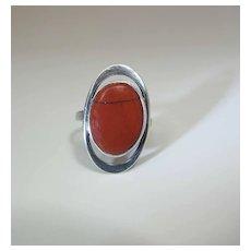 Vintage Frances Holmes Boothby Modernist Silver And Jasper Unisex Ring Size 9