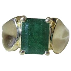 Vintage 10K Yellow Gold 2.7 Carat Natural Emerald Unisex Ring