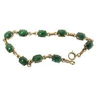 Vintage 14K Gold 12.5 Carat Green Jadeite Jade Line / Tennis Bracelet