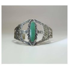 Beautifully Stamped Vintage Navajo Silver & Green Turquoise Cuff Bracelet