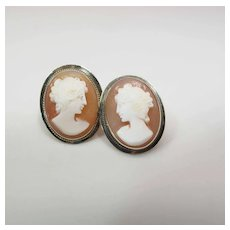 Vintage 14K Yellow Gold Nicely Carved Shell Cameo Post Earrings