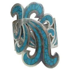 Vintage Mexican Sterling Silver & Turquoise Clamper Bracelet Signed C J