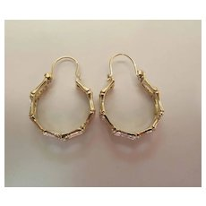 Vintage 14K Yellow Gold Bamboo Look Double Hoop Earrings W/ Hinged Wires