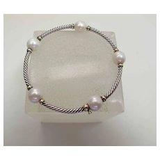 Rare David Yurman 18K & Silver Twisted Cable Bangle W/ 9.25-mm Cultured Pearls