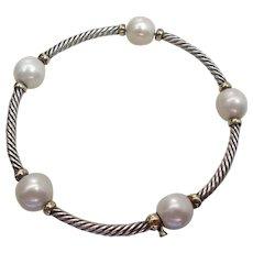 Rare David Yurman 18K & Silver Twisted Cable Bangle W/ 9.25-mm Cultured Pearls