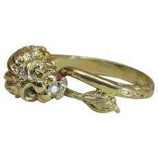 Vintage Zolotas 18K Gold Diamond & Ruby Lion Ring With Open Shank