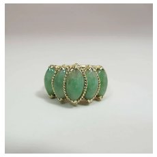 Vintage 14K Yellow Gold Five Stone Jade Ring 5.4 Carats Size 8