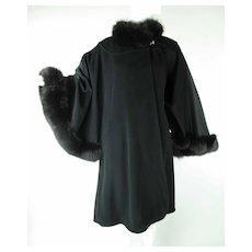 Luscious Vintage Black Cashmere Felt Dolman Sleeve Coat With Dyed Fox Collar & Trim