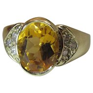 14K Yellow Gold Citrine And Diamond Ring Size 8.75