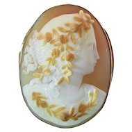 Large Antique 14K Gold Mounted Fine Shell Cameo Brooch Of Flora