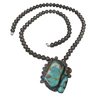 Vintage 25-In Navajo Silver Bench Bead & Royston Turquoise Pendant Necklace