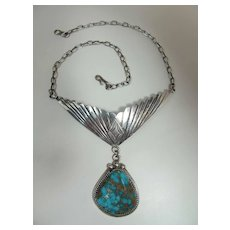 Vintage Boyd Brown Navajo Silver & Blue Gem Turquoise Pendant Necklace