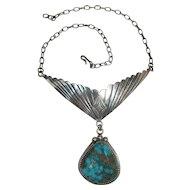 Vintage Boyd Brown Navajo Silver & Blue Gem Turquoise Pendant Necklace