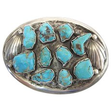 Vintage Navajo Handmade Tufa Cast Silver & Turquoise Brooch 2 5/8-In - 42.3 Gms