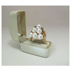 Opulent Vintage 14K Gold White Cultured Pearl & Emerald Cocktail Ring Rose Pink Overtones