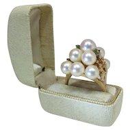 Opulent Vintage 14K Gold White Cultured Pearl & Emerald Cocktail Ring Rose Pink Overtones