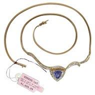Vintage 14K Gold Blue Dominant Tanzanite & Diamond Herringbone Chain Necklace