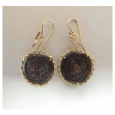 Vintage 14K Yellow Gold French Wire Dangle Earrings With Ancient Shipwreck Coins