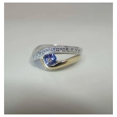14K Yellow & White Gold Tanzanite And Diamond Bypass Ring