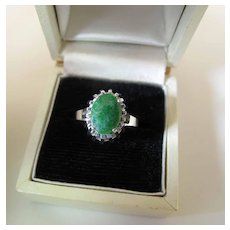 Vintage 14K White Gold Spinach Green Nephrite Jade Ring