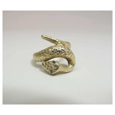 Art Deco Era 14K Yellow Gold Snake Ring W/ Emerald Eyes Signed Deman-Klous