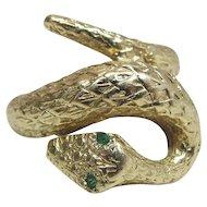 Art Deco Era 14K Yellow Gold Snake Ring W/ Emerald Eyes Signed Deman-Klous
