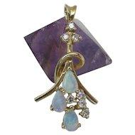 Vintage 14K Gold Opal & Diamond Pendant 1 3/8 x 11/16-inches 3.9 Grams