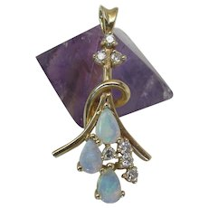 Vintage 14K Gold Opal & Diamond Pendant 1 3/8 x 11/16-inches 3.9 Grams