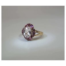 Vintage 14K Gold Rock Crystal & Pink Morganite Cocktail Cluster Ring