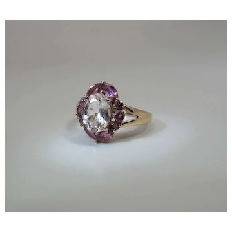 Vintage 14K Gold Rock Crystal & Pink Morganite Cocktail Cluster Ring