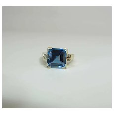 14K Yellow Gold 6 Carat Blue Topaz & Diamond CID Clyde Duneier Ring