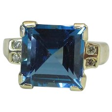 14K Yellow Gold 6 Carat Blue Topaz & Diamond CID Clyde Duneier Ring
