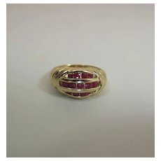 Stylish Vintage 14k Yellow Gold Natural Ruby Ring