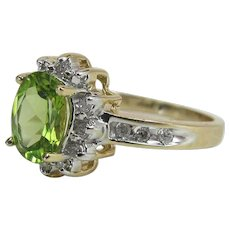14K Yellow Gold Peridot And Diamond Halo / Cluster Ring
