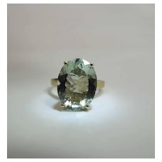 Vintage 14K Yellow Gold 7 Carat Oval Natural Green Aquamarine Cocktail Ring