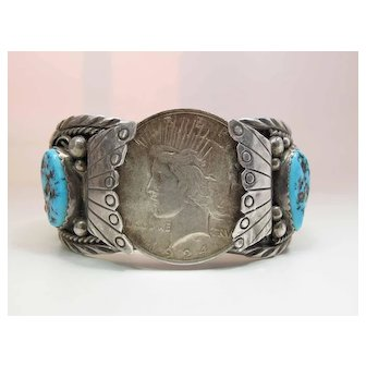 Vintage Navajo Silver Turquoise & Coral Cuff Bracelet W/ 1924 Silver Dollar Signed
