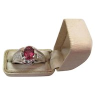 Vintage 14K Gold Fine 1.25 Carat Hot Pink Rubellite Tourmaline & Diamond Ring
