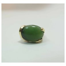 Vintage 14K Yellow Gold 7 Carat Green Nephrite Jade Cocktail Ring