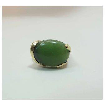 Vintage 14K Yellow Gold 7 Carat Green Nephrite Jade Cocktail Ring